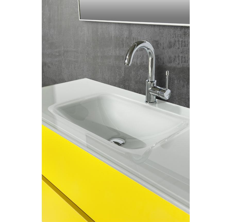 תוספת רהיטי דורון | ארון אמבטיה עם כיור זכוכית אינטגרלי KG-23